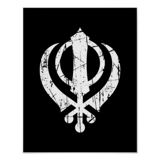 Scratched White Sikh Khanda Symbol on Black Posters