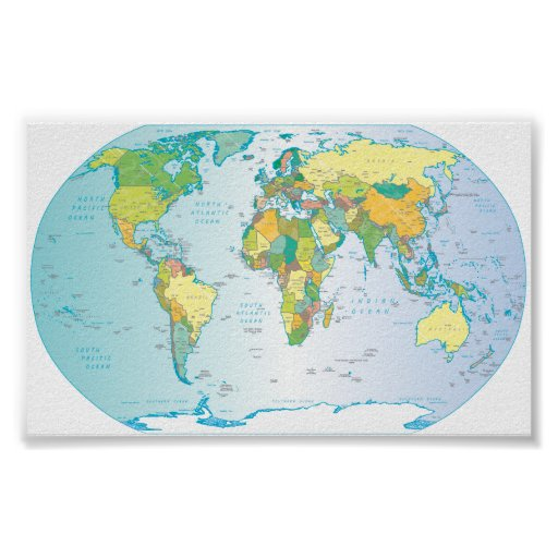 Scratched World map Poster