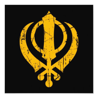 Scratched Yellow Sikh Khanda Symbol on Black 13 Cm X 13 Cm Square Invitation Card