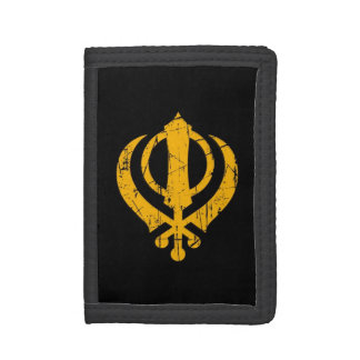 Scratched Yellow Sikh Khanda Symbol on Black Trifold Wallet