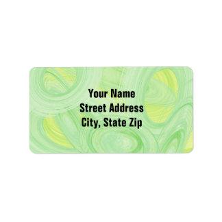 Scratchy Green Spirals Address Label