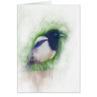 Scratchy Painting of a Scruffy Magpie Greeting Card