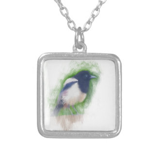 Scratchy Painting of a Scruffy Magpie Pendant