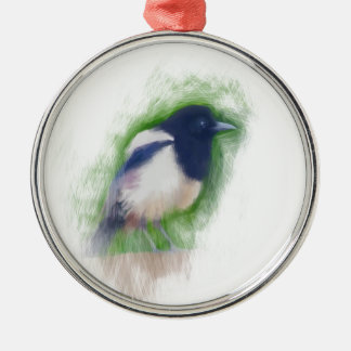 Scratchy Painting of a Scruffy Magpie Silver-Colored Round Decoration