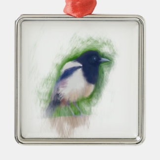 Scratchy Painting of a Scruffy Magpie Silver-Colored Square Decoration