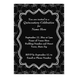 Scratchy Pattern Print Black White Quinceanera 13 Cm X 18 Cm Invitation Card