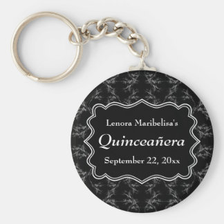 Scratchy Pattern Print Black White Quinceanera Key Chains