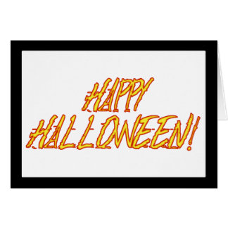 Scratchy Yellow & Red Halloween Text Image Greeting Card