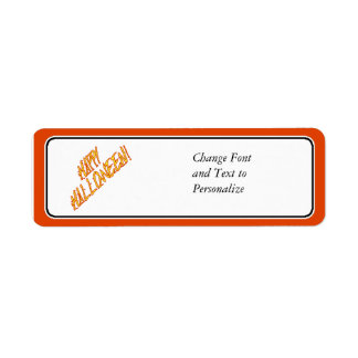 Scratchy Yellow & Red Halloween Text Image Return Address Label