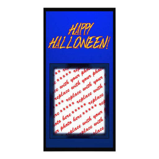 Scratchy Yellow & Red Halloween Text Image Photo Card