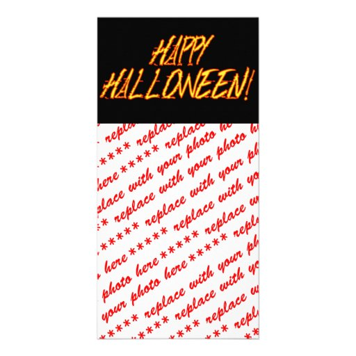 Scratchy Yellow & Red Halloween Text Image Photo Card Template