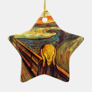 Scream by Munch ~ screaming man w red orange sky Christmas Ornament