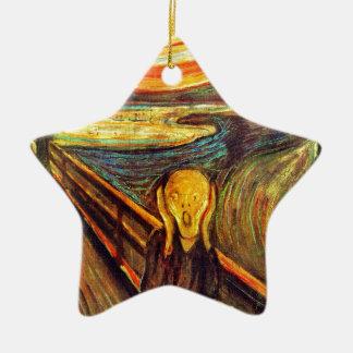 Scream by Munch ~ screaming man w red orange sky Christmas Ornament