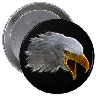 Screaming American Bald Eagle Head Pinback Button