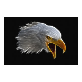 Screaming American Bald Eagle Head Stationery