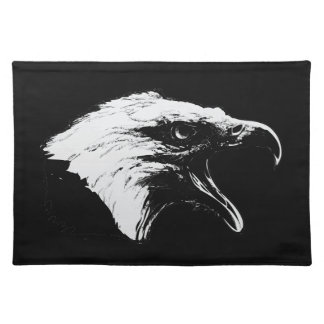 Screaming Bald Eagle in Black Pick Your Background Placemats