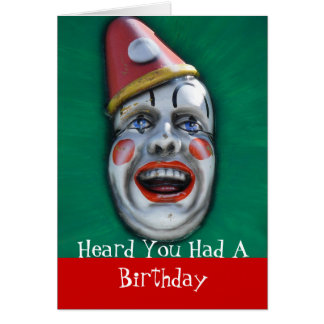 Screaming Clown Belated Birthday Cards
