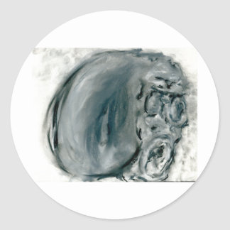 Screaming Grey Round Sticker