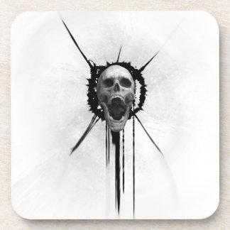 Screaming Skull (White) Coaster Square