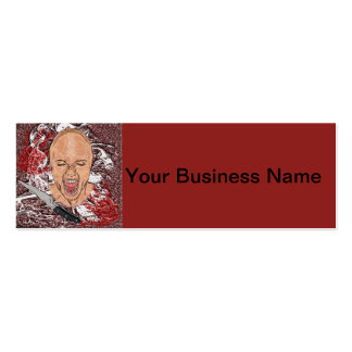 Screaming Woman Bloody Hands Knife Horror Art Business Cards