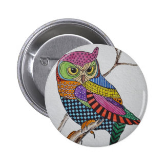 Screech Owl bold color Pinback Buttons