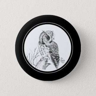 Screech Owl Button in pencil