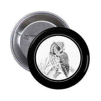 Screech Owl Button in pencil