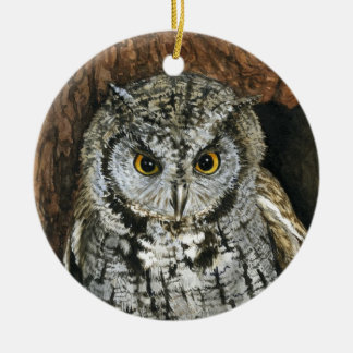 Screech Owl Christmas Ornament-watercolor painting Round Ceramic Decoration