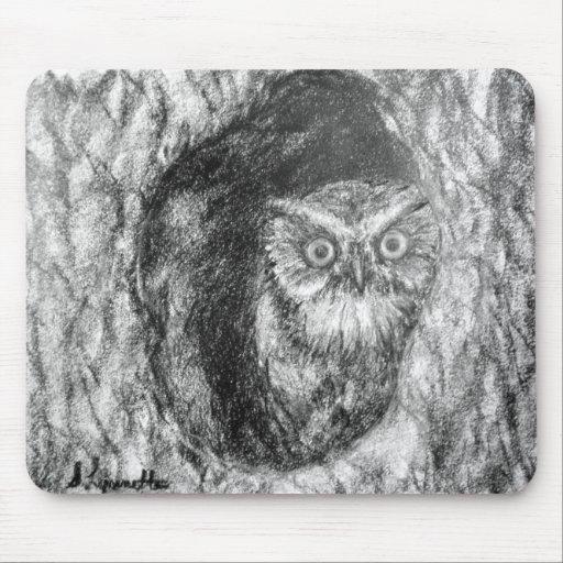 Screech Owls Owl Charcoal Black & White Drawing Mousepads