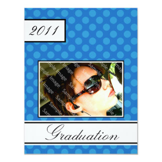 "Screen Dot Blue Open House Party Graduation 4.25"" X 5.5"" Invitation Card"