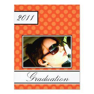 "Screen Dot Orange Open House Party Graduation 4.25"" X 5.5"" Invitation Card"