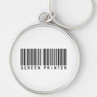 Screen Printer Bar Code Silver-Colored Round Key Ring