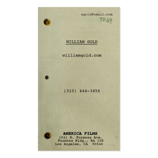 Create your own screenwriter business cards screenplay vintage business cards reheart Image collections