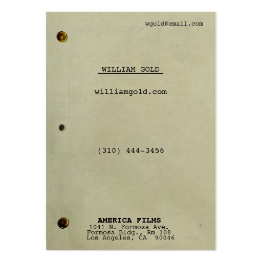 Collections of filmmaker business cards screenplay vintage wide business cards colourmoves Choice Image