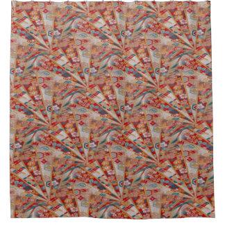 Screens Oriental Fabric Shower Curtain