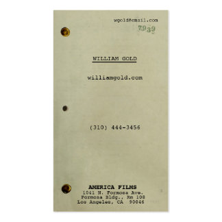 Screenwriter Vintage Pack Of Standard Business Cards
