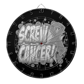 Screw Brain Cancer Comic Style Dartboard With Darts