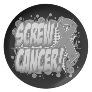 Screw Brain Cancer Comic Style Dinner Plate