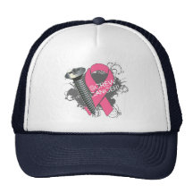 Breast Cancer  on Screw Cancer   Grunge Breast Cancer Mesh Hats