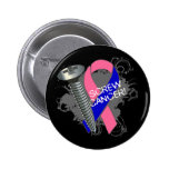 Screw Cancer - Grunge Male Breast Cancer Button