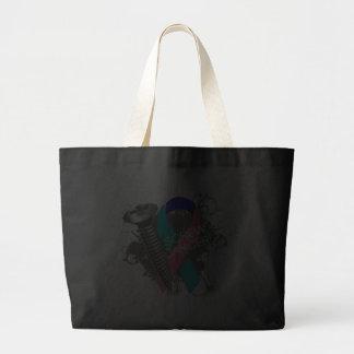 Screw Cancer - Grunge Thyroid Cancer Jumbo Tote Bag