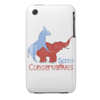 Screw Conservatives Faded iPhone 3 Case-Mate Cases