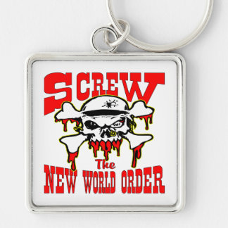 Screw The New World Order Skull Silver-Colored Square Key Ring
