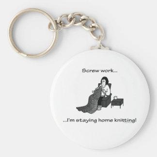 Screw Work, I'm Staying Home Knitting Key Ring
