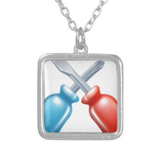 Screwdrivers crossed tools icon pendant