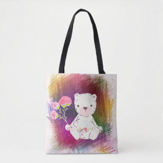 Scribble Sketch Teddy Bear Tote Bag
