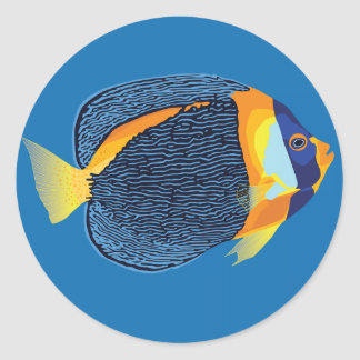 Scribbled angelfish classic round sticker
