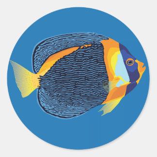 Scribbled angelfish round sticker