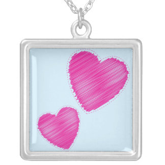 Scribbled hearts square pendant necklace