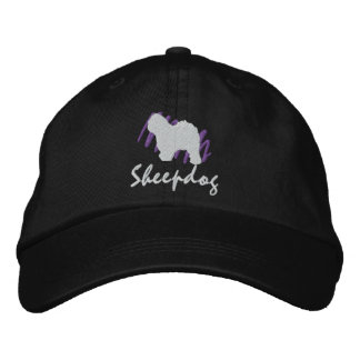 Scribbled Old English Sheepdog Embroidered Hats